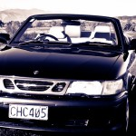 RentAClassic Saab 9-3 convertible head on Rabbit Island Tasman
